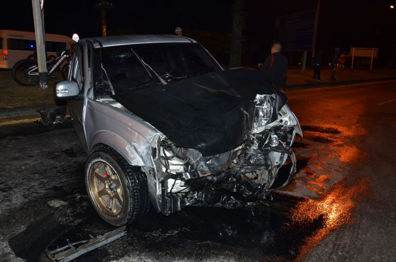 Three-vehicle crash left two men and a woman injured in Phuket. Photo: Eakkapop Thongtub