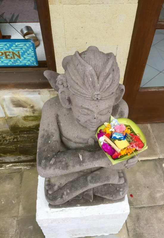 'Canang sari' offerings are a common sight all over the island. Photo: Andrew J Wood