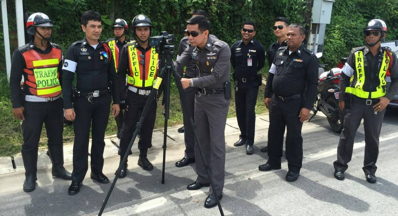 Police are pushing for a drivers' licence points system in their latest effort to improve the standards of driving and promote road safety, it follows the introduction of speed and helmet detection camera's in Phuket. Photo: Phuket City Police Station / File