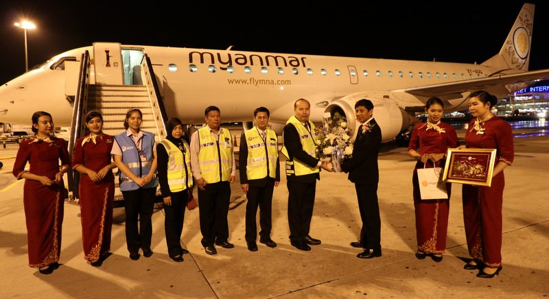 The inaugural Myanmar Airlines flight from Yangon landed in Phuket on Sunday (Mar 25). Photo: Eakkapop Thongtub