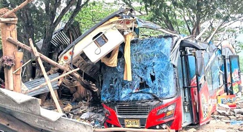 The concern over the safety of double-decker buses was renewed last week after a driver who admitted to taking drugs skidded off a road in Wang Nam Khieo district of Nakhon Ratchasima. The crash killed 18 passengers. Photo: Prasit Tangprasert
