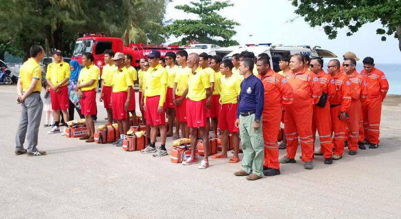The new lifeguards at Surin Beach today (April 5). Photo: Supplied