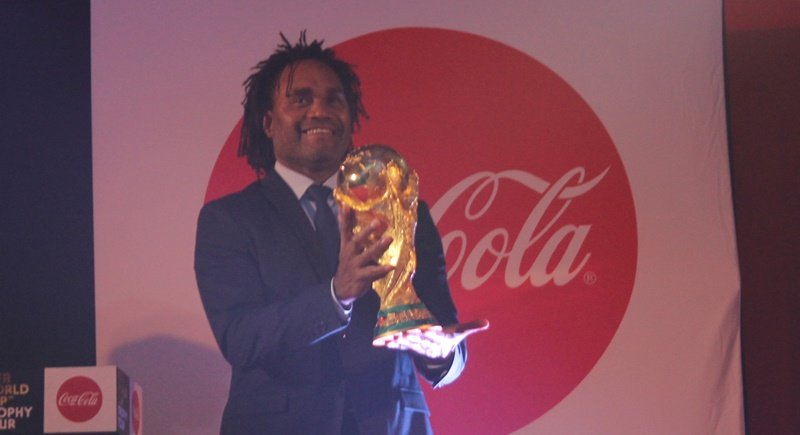 Christian Karembeu, a key member of France's World Cup 98 winning team, seen here when the solid-gold trophy came to Phuket as part of the Coca-Cola World Cup Tour. Photo: Matt Pond