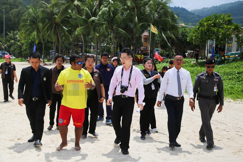 The Chinese delegation inspected the lifeguard service at Patong Beach today (May 10). Photo: Patong Municipality