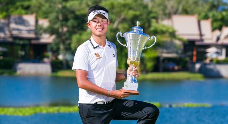 Varanyu Rattanaphiboonkij savoured his first professional victory at the Singha Laguna Phuket Open today (May 13). Photo: All Thailand Golf Tour
