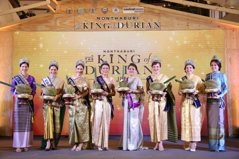The top nine durians sold at the event fetching a combined B2.74 million. Photo: NNT