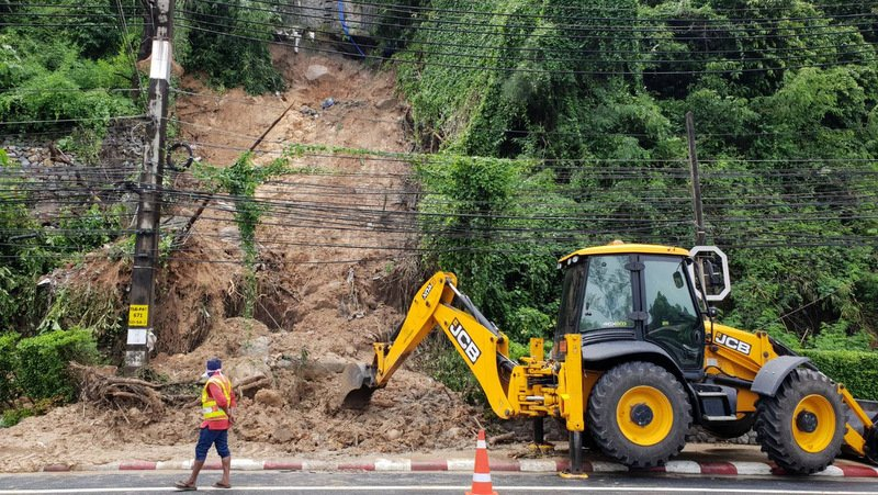 Landslide risk areas, such as this one in Kamala earlier this month, are on the map, which will be available online soon. Photo: The Phuket News / file