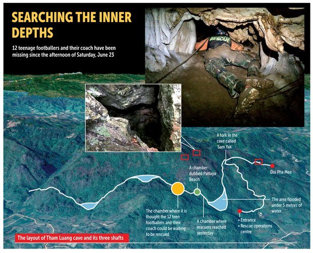 Image made on Wednesday shows a topographical map annotated with location details of Tham Luang cave in which 12 young soccer team members and their coach went missing on Saturday. Photo: Bangkok Post Graphics
