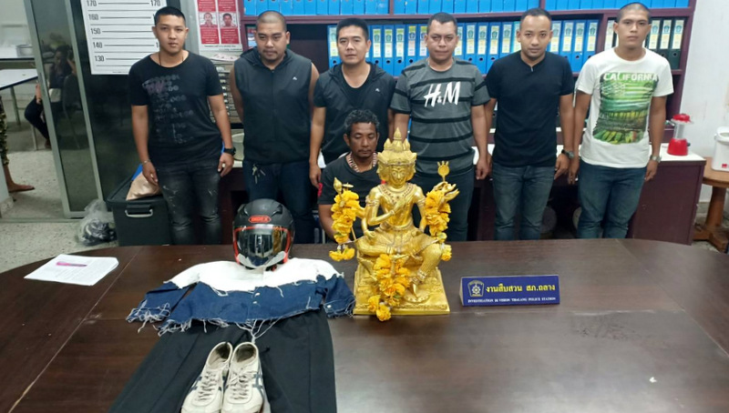 Police arrested 47-year-old Montri Sawetdul at his room at a construction workers' camp in Srisoonthorn last night (July 4). Photo: Thalang Police