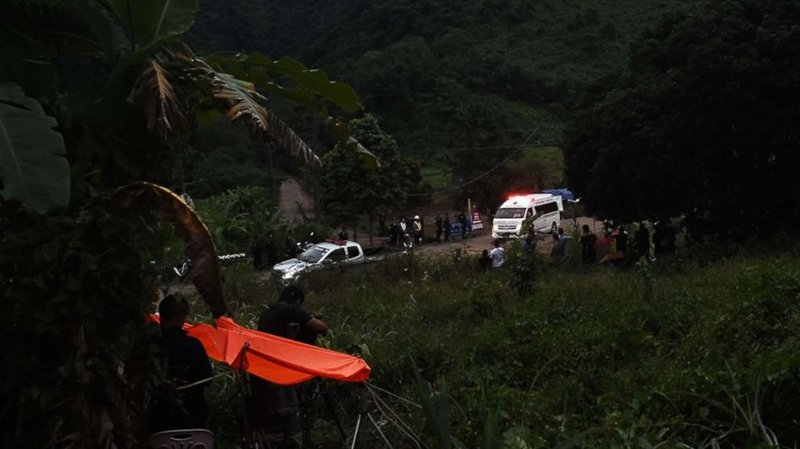 An ambulance leaves the Tham Luang cave area after divers started evacuating the 12 boys and their football team coach trapped in a flooded cave in Khun Nam Nang Non Forest Park in the Mae Sai district of Chiang Rai province yesterday (July 8). Photo: Lillian Suwanrumpha / AFP