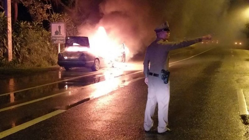 Phuket driver stumped as Mercedes goes up in flames