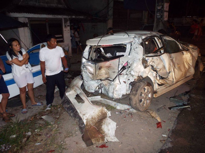 The Nissan Trina was destroyed by the impact. Photo: Eakkapop Thongtub