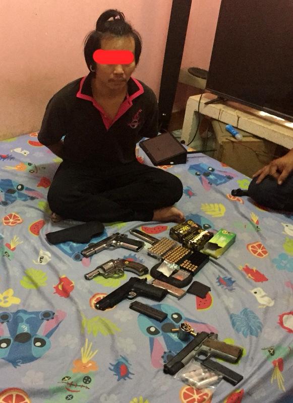 A variety of handguns and matching ammunition were seized. Photo: Phuket Police