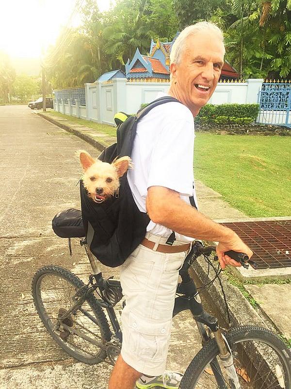 Bear, Baz's dog, enjoys a workout too.