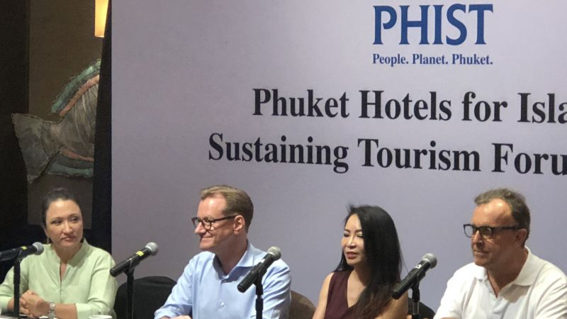 Marisa Sukosol Nunbhakdi (Thai Hotels Association), Bernhard Bohnenberger (Six Senses Hotels),   Wilaiporn Pitimanaaree, (Central Pattana Public Company) and Anthony Lark (Phuket Hotels Association)