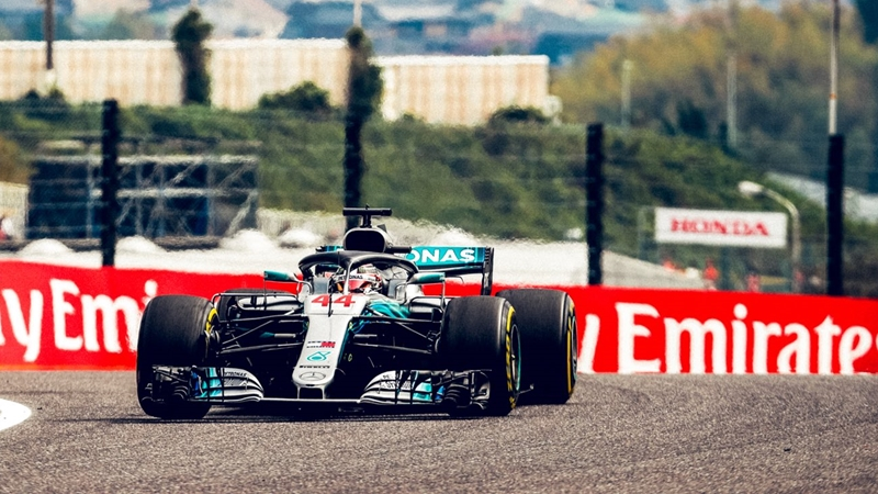 Lewis Hamilton laid down a fearsome gauntlet for title rival Sebastian Vettel by setting an untouchable fastest lap during Friday practice. Photo: Mercedes AMG Petronas