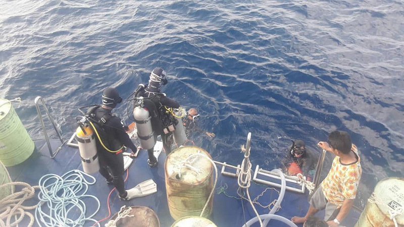 The salvage team encountered problems with the floats attached to the 'Phoenix' wreck. Photo: PR Dept