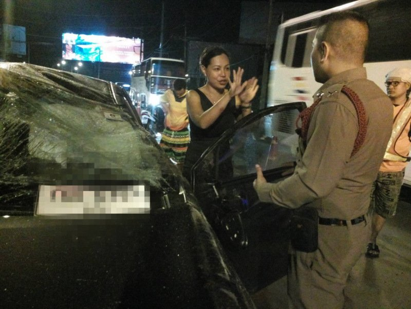 Filipina expat Pineda Ma Elaine Monasterial, 35, was fined B400 for reckless driving causing damage to property. Photo: Eakkapop Thongtub