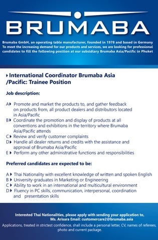 International Coordinator Brumaba Asia/Pacific: Trainee Position