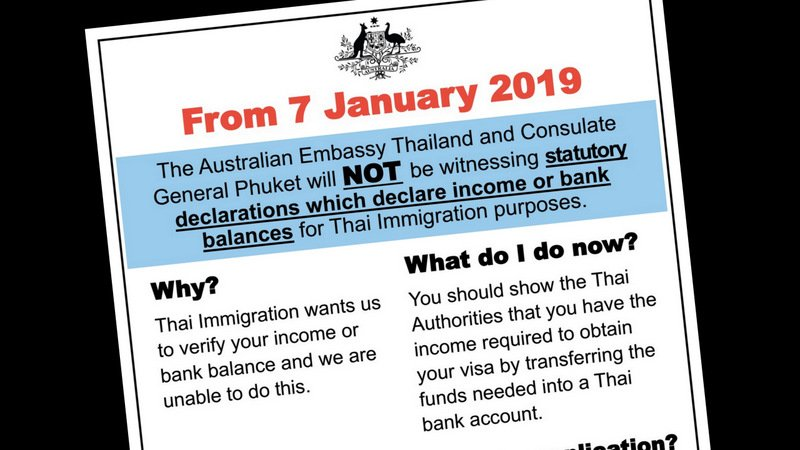 The Australian Embassy will cease issuing the income confirmation letters from Jan 7.