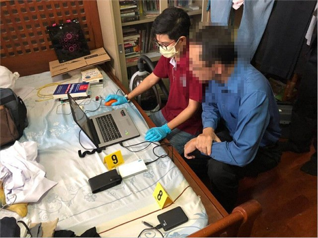 The raids, including at two locations in Patong, netted six suspects and seized 19 electronic devices containing more than 1,000 child sexual media files. Photo: DSI