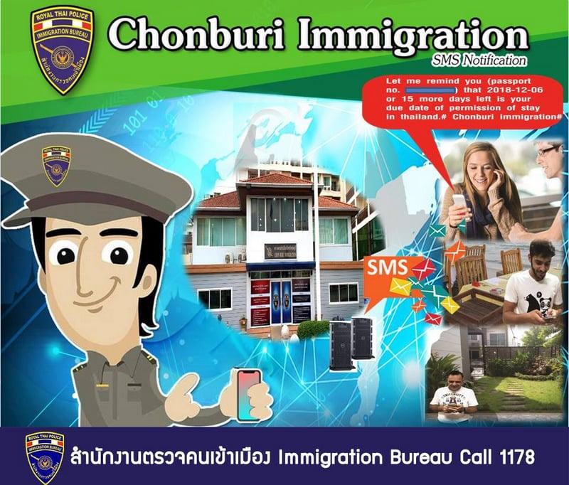 Immigration Bureau chief Lt Gen Surachate Hakparn announced the CHon Buri SMS alerts yesterday (Nov 29). Image: Immigration Bureau