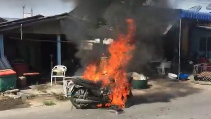 Sirirat Singchai, 44, parked the motorbike just minutes before it exploded into flames. Photo: Worapong Yuraman