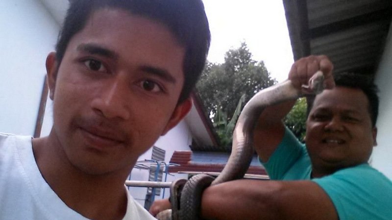 Mr Sayan had the cobra in hand within minutes after arriving at the home. Photo: Phuket Ruamjai Rescue Foundation