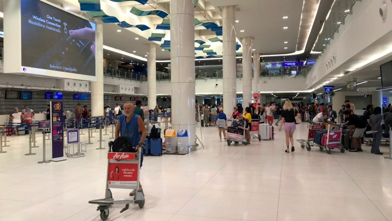 An empty concourse at Phuket International Airport this morning (Jan 3). Photo: Airport