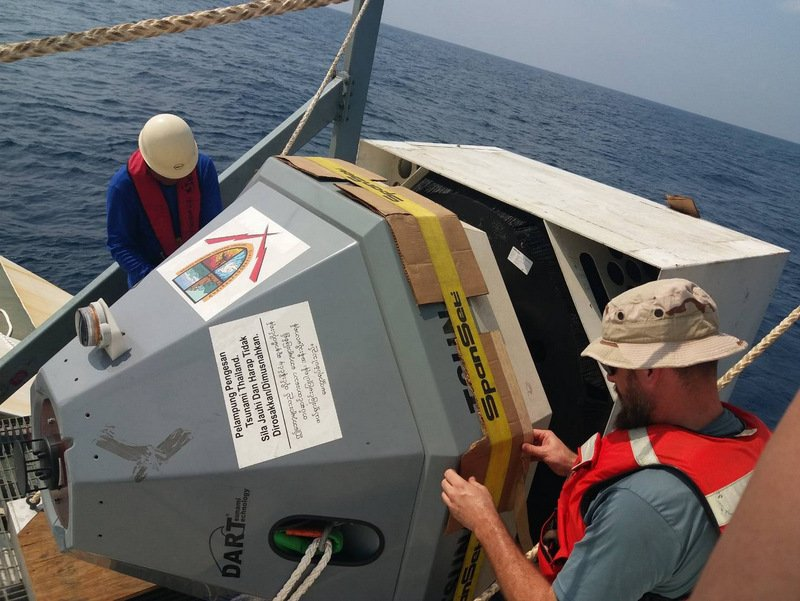 The tsunami-warning buoy was deployed this morning (Jan 18), but remains to be activated. Photo: NDWC