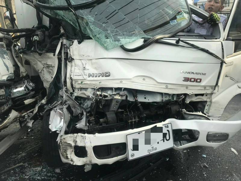 The drivers of both trucks were taken to Patong Hospital. Photo: Supplied
