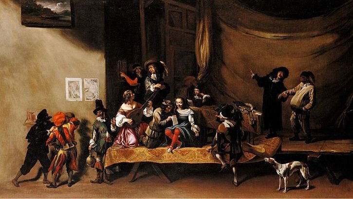 A Commedia dell'Arte troupe performing sometime between 1630 and 1640.