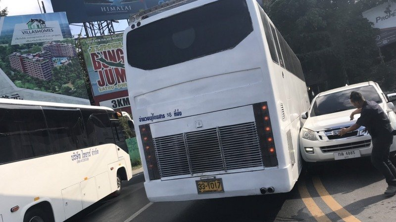 The multiple-vehicle wipeout followed a pickup truck and a tour bus sideswiping each other on the hill this morning. Photo: Patong Police