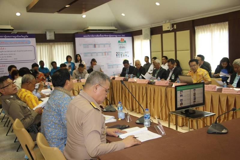 Tawatchai Lertpaothai, one of the nation's five Election Commissioners, was in Phuket on Thursday to be briefed on the proceedings regarding the registrations and preparations for the upcoming election. Photo: PEC