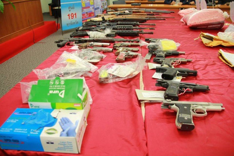 The raids netted 17 handguns. Photo: Krabi PR office