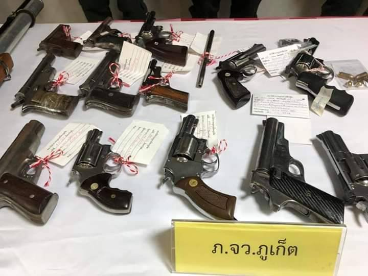 The campaign netted a haul of illegal firearms.. Photo: Eakkapop Thongtub