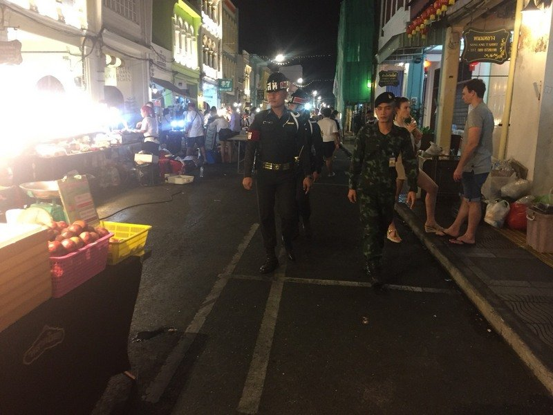 Soldiers patrol Phuket Town. Photo: Royal Thai Army Region 4