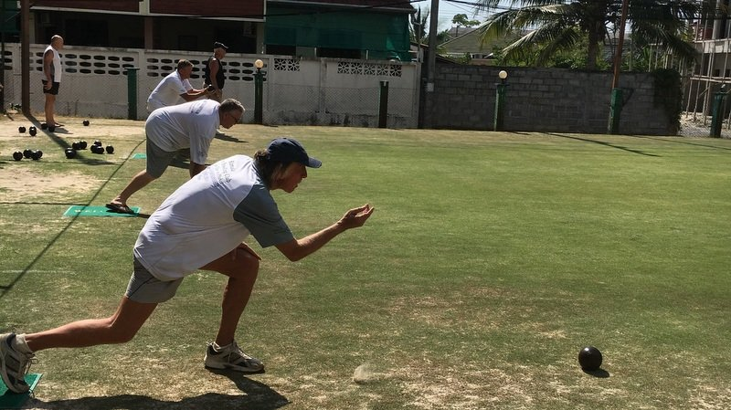 Action at the Champions League Pairs competition on Saturday (Mar 9) at the Kamala Lawn Bowls Club.