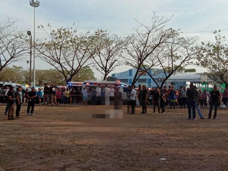 Police at the scene at Saphan Hin Public Park this afternoon (Mar 19). Photo: Eakkapop Thongtub