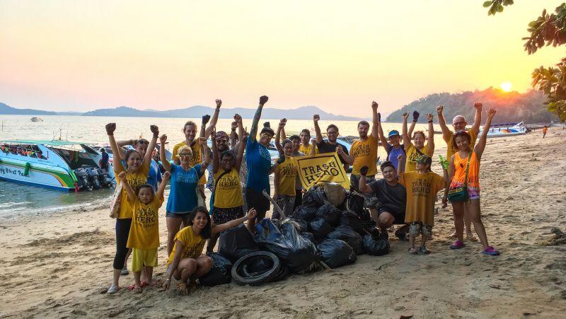 Trash heroes and heroines at a Koh Siray beach.
