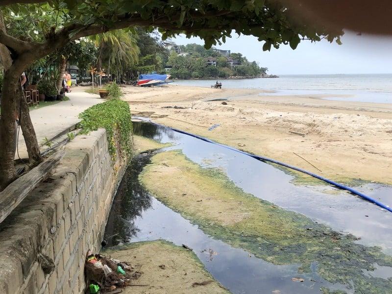 The channel runs across Kamala Beach. Photo: Kamala OrBorTor