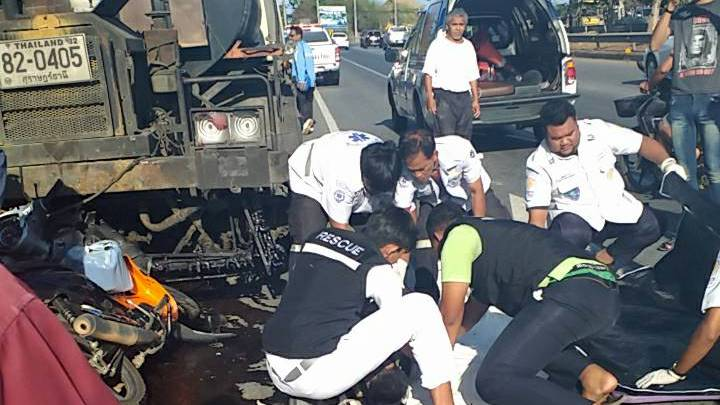 The motorbike hit a parked asphalt truck in Mai Khao early this morning (Apr 4). Photo: Leo Naksingsaiboon