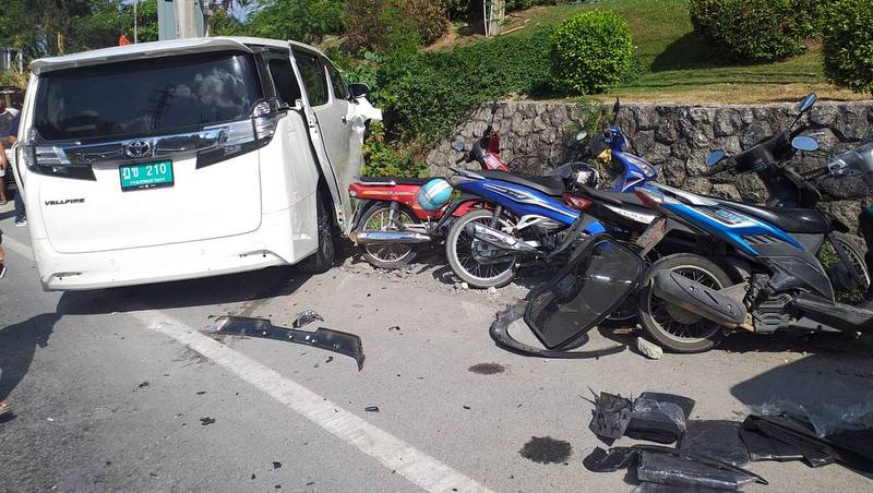 Taxi causes nine-vehicle carnage on Patong Hill