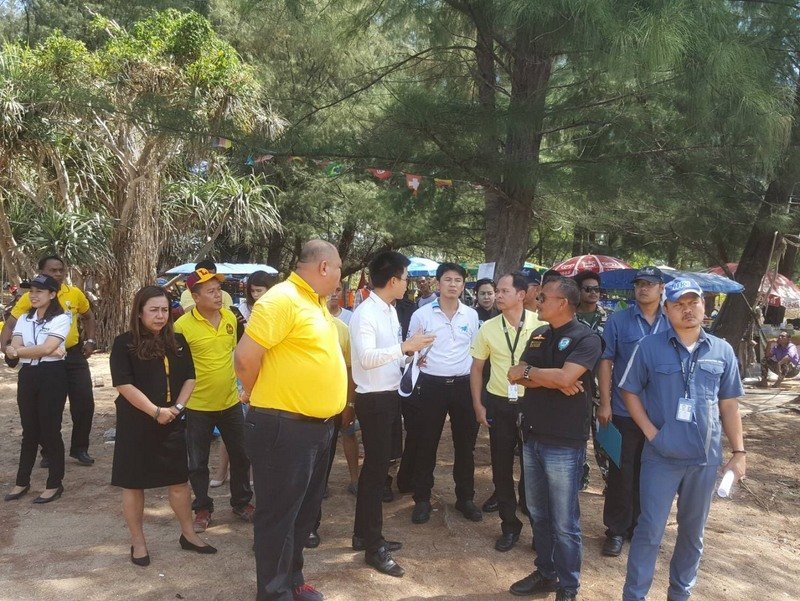 Local residents meet with officials last Friday (Apr 5) about the expansion of the safety zone at the end of the runway on Mai Khao Beach. Photo: Supplied