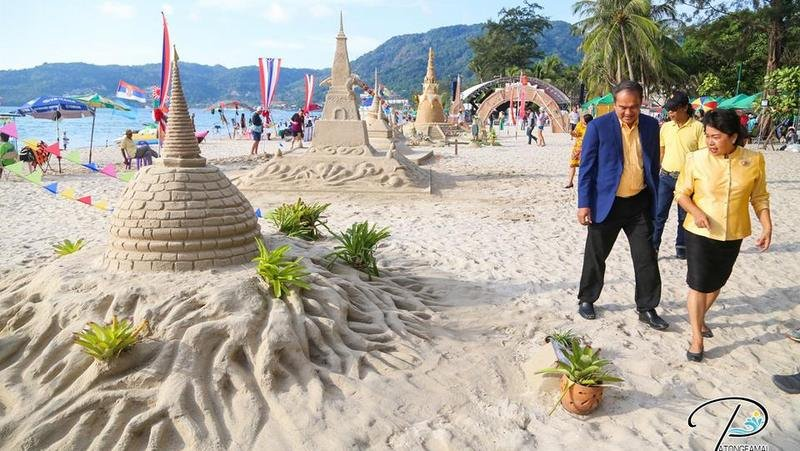 The sand pagodas on Patong Beach will be on display until Sunday (Apr 14). Photo: Patong Municipality
