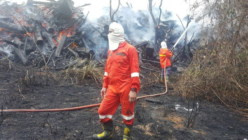 Rawai Municipality firefighters were quickly on the scene and took three hours to bring the blaze under control. Photo: Rawai Municipality Fire Department