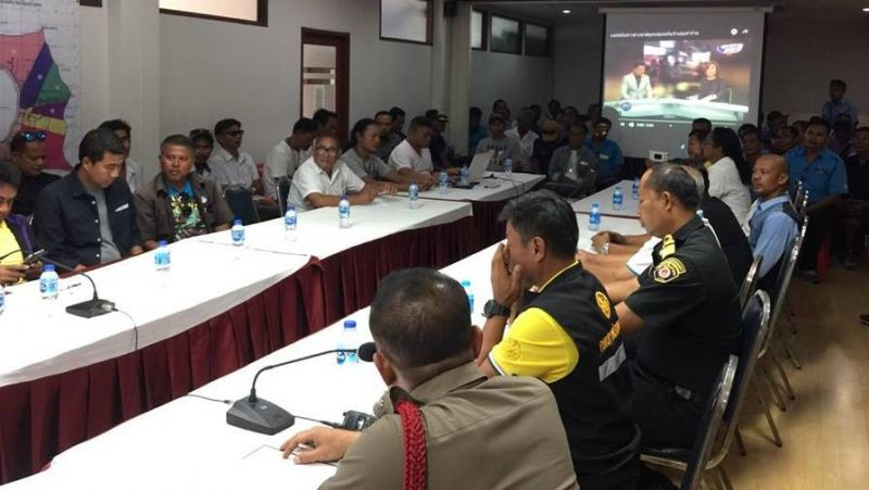 """We want public transport drivers in Patong area to be good and welcoming hosts for tourists,"" Col Anotai said following the meeting. Photo: Patong Police"
