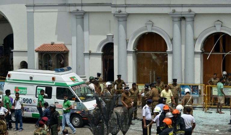 The first explosions were reported at St Anthony's Shrine (pictured) in Colombo and St Sebastian's Church in the town of Negombo just outside the capital. Photo: AFP / Ishara S. Kodikara