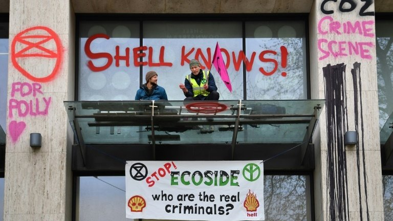 Campaigners daubed graffiti on the Shell Centre building. Photo: AFP