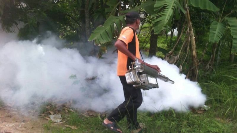 One of the methods used to reduce mosquito numbers in populated areas is fogging. Photo: PR Dept